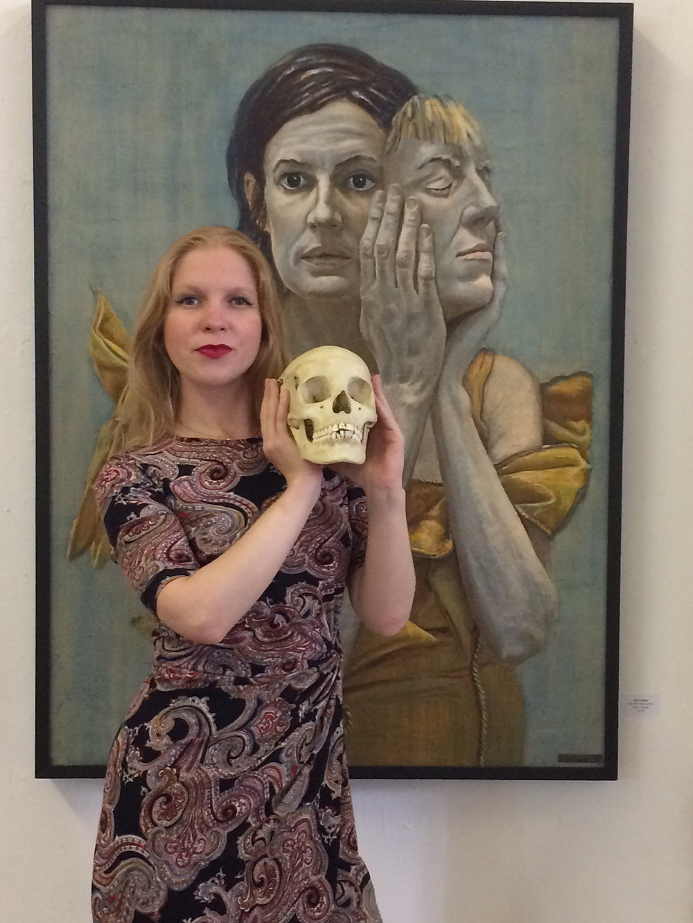 Memento mori with artist and skull