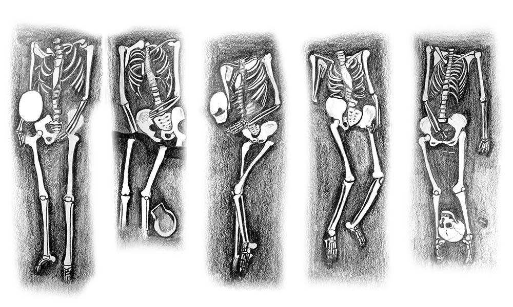 Drawings by Susan Elaine Jones; Decapitated skeletons excavated in archaeological sites in the UK