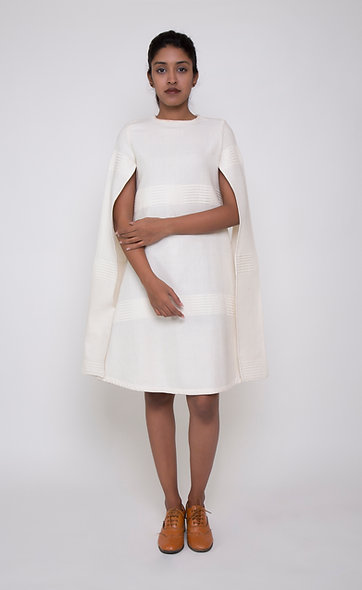 WHITE CAPE SLEEVE DRESS