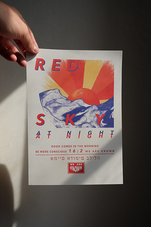 RED SKY AT NIGHT A3 PRINT // RECYCLED PAPER