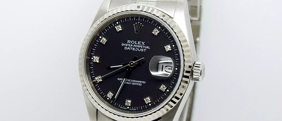 Rolex Datejust 16234 Box and Papers black diamond dial
