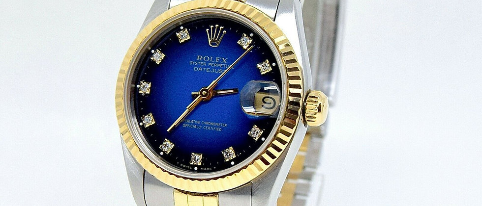 .Rolex Datejust 68273 midsize 31mm Box and Papers Ladies Rolex Blue Diamond dial