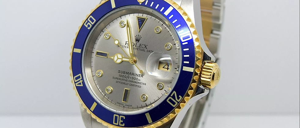 Rolex Submariner 16613 Box and Papers Serti diamond and sapphire dial