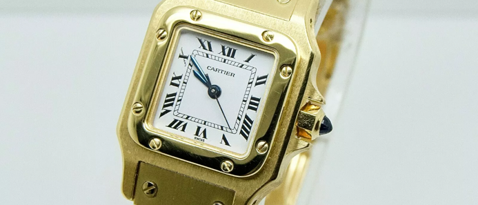 Cartier Santos 18k yellow gold ladies watch