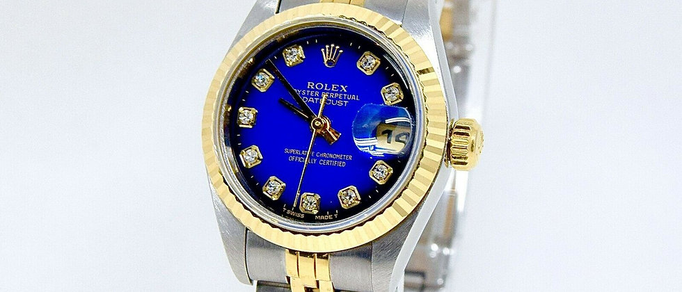 .Rolex Datejust 79173 Box and Papers Degrade Blue Diamond Dial Ladies watch