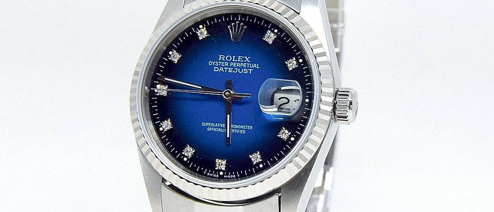 .Rolex Datejust 16234 Rare Degrade Blue Diamond Dial