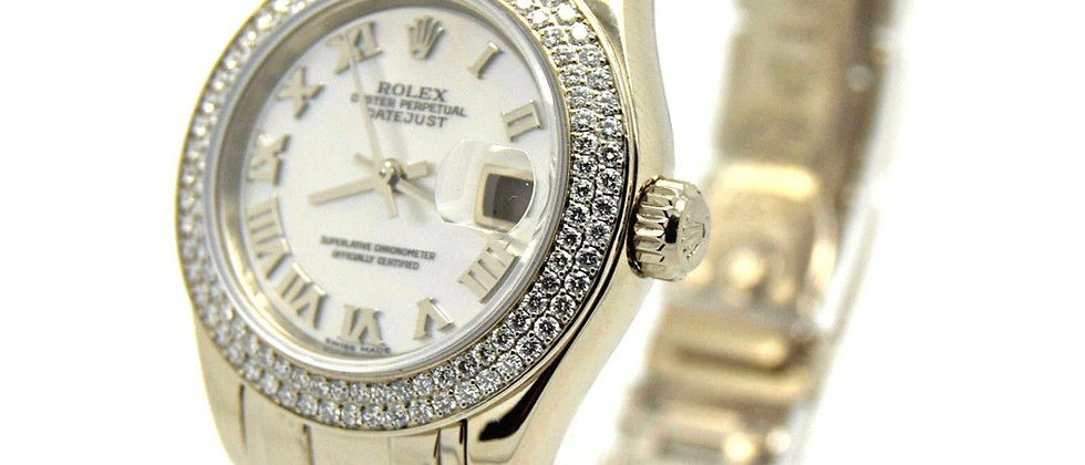 .Rolex Pearlmaster 80339 Box & Papers. Double Diamond Bezel MOP Dial MINT