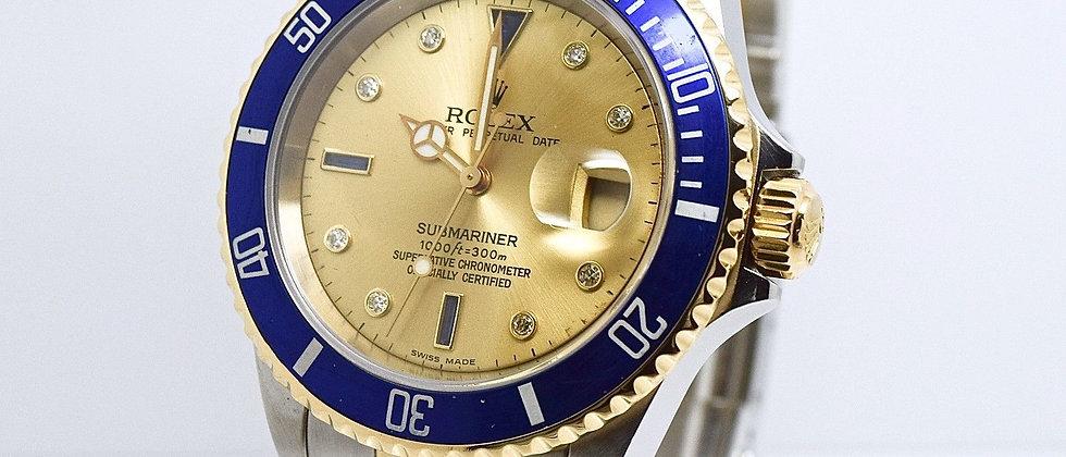 Rolex Submariner 16613 Serti Diamond & Sapphire Dial