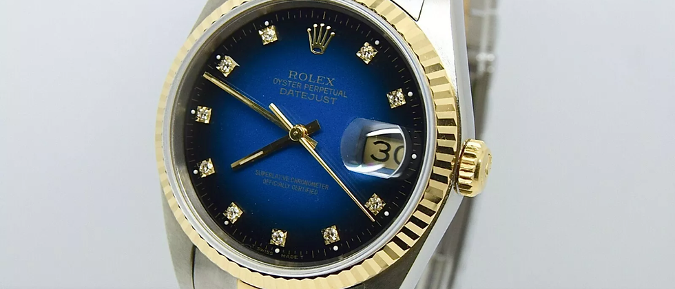 Rolex Datejust 16233 Box and Papers blue vignette diamond dial