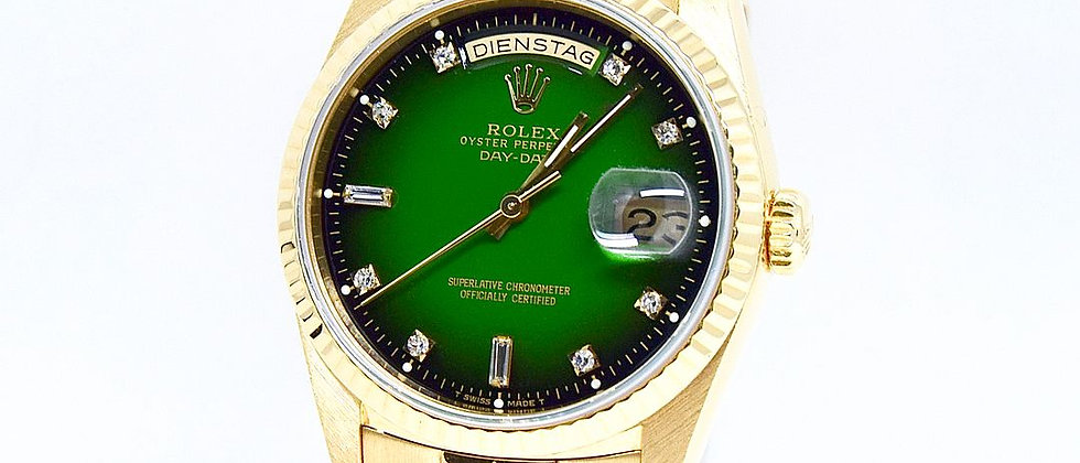 .Rolex Day Date 18238 with Box and Papers Green Vignette Diamond Dial RARE