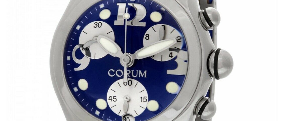 .Corum Bubble Chronograph Date Box and Papers Ref. 396.150.20 Blue Dial