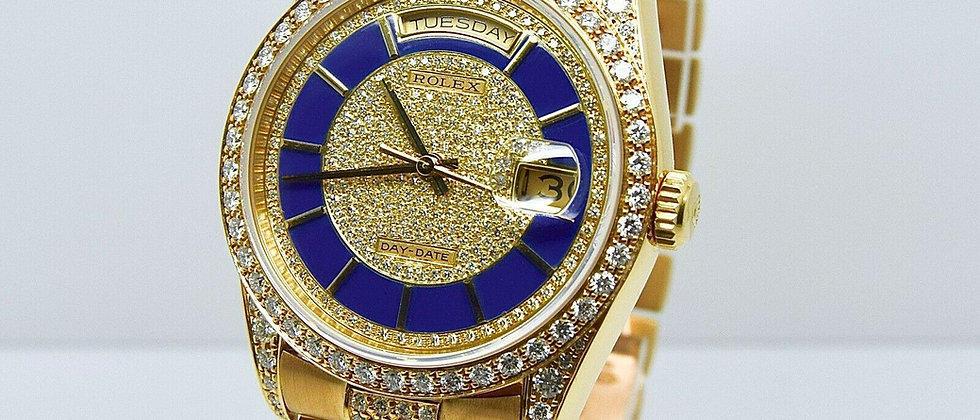 Rolex Day-Date 18388 Original Lapis Pave Set Dial with Diamond Bezel