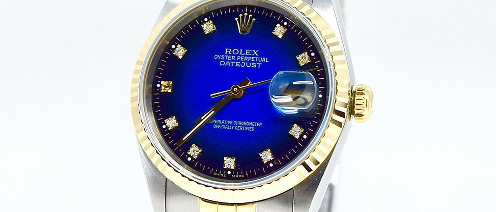 .Rolex Datejust 16233 Degrade Blue Diamond Dial Box and Papers
