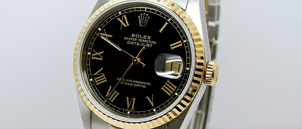 Rolex Datejust 16233 Box and Papers Black Buckley Dial