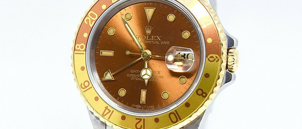 .Rolex GMT Master II Ref:16713 Root Beer/Tiger Eye 18K Gold and Steel