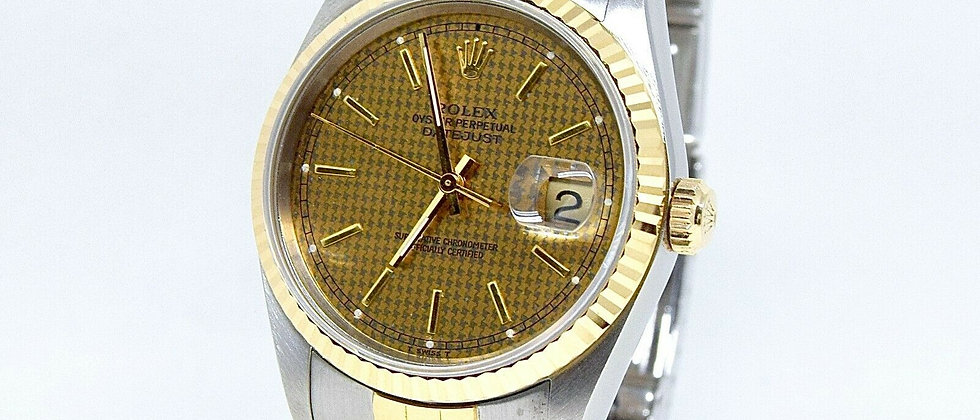 .Rolex Datejust 16233 Rare Houndstooth Dial Box and Papers 1993
