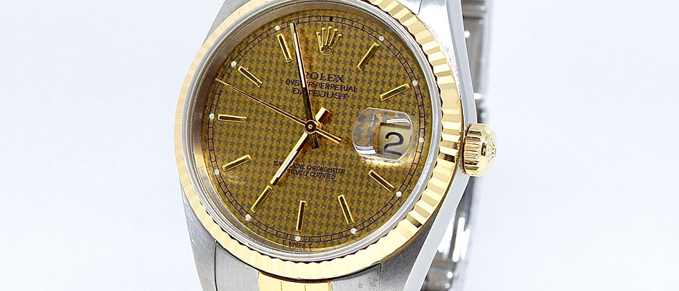 Rolex Datejust 16233 Rare Houndstooth Dial Box and Papers 1993