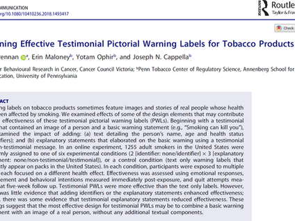 New paper out in Health Communication on the effectiveness of graphic warning labels for tobacco pro