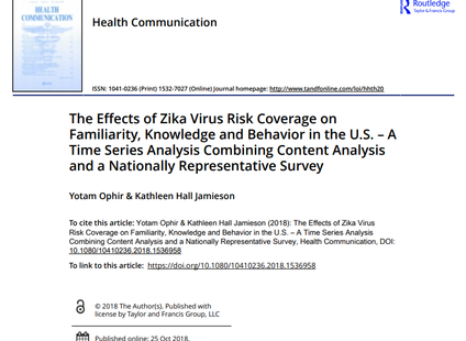 Our recent study on coverage of Zika and its effects on familiarity and knowledge is live in Health