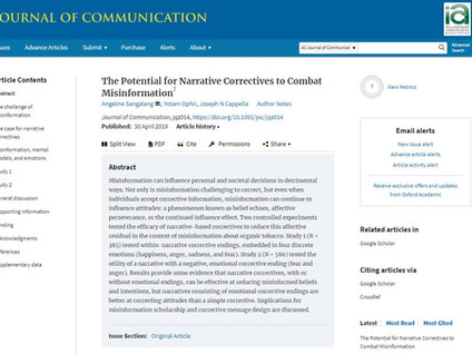 Correcting Misinformation using Emotional Narratives is now live in Journal of Communication!