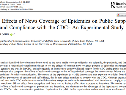 New Paper: Testing the Epidemics News Coverage in Light of the CDC's CERC model- Effects on Comp