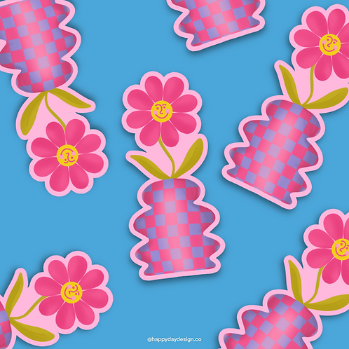 Smiley Flower Sticker