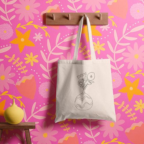 Floral Vase Canvas Tote Bag