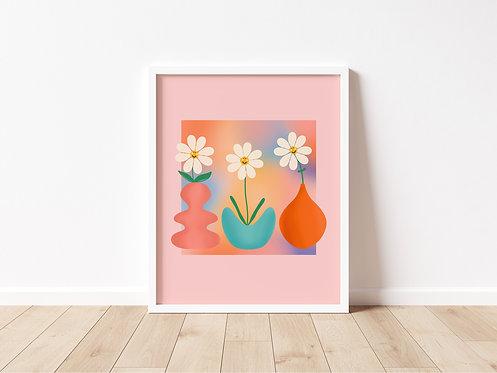 Smiley Flowers Print