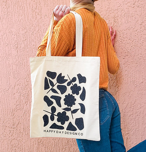 Floral Canvas Tote Bag