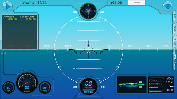 The main screen of the control software of our Underwater Autonomous Vehicle: Seastick Control Station.