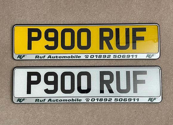 Pair of RUF Branded Number Plate Holders