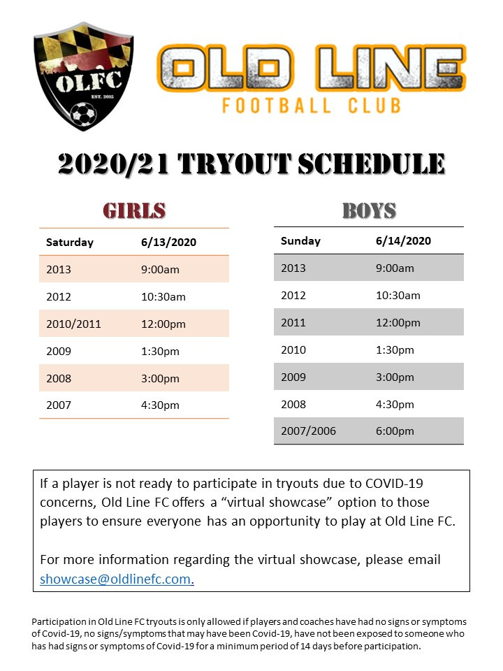 2020/21 Tryout Schedule