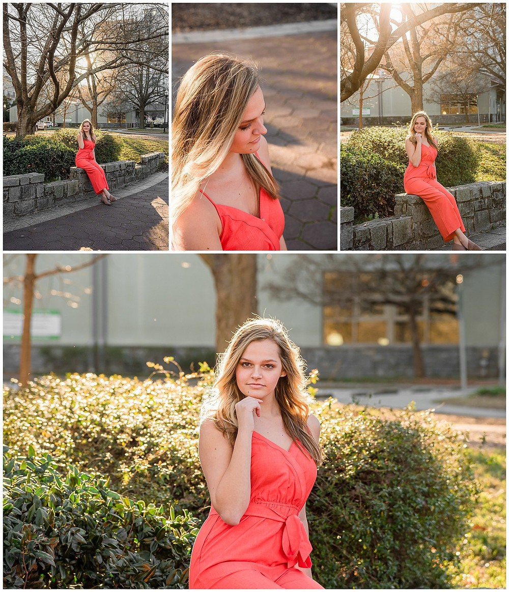 teenager in orange outfit in park for senior portraits