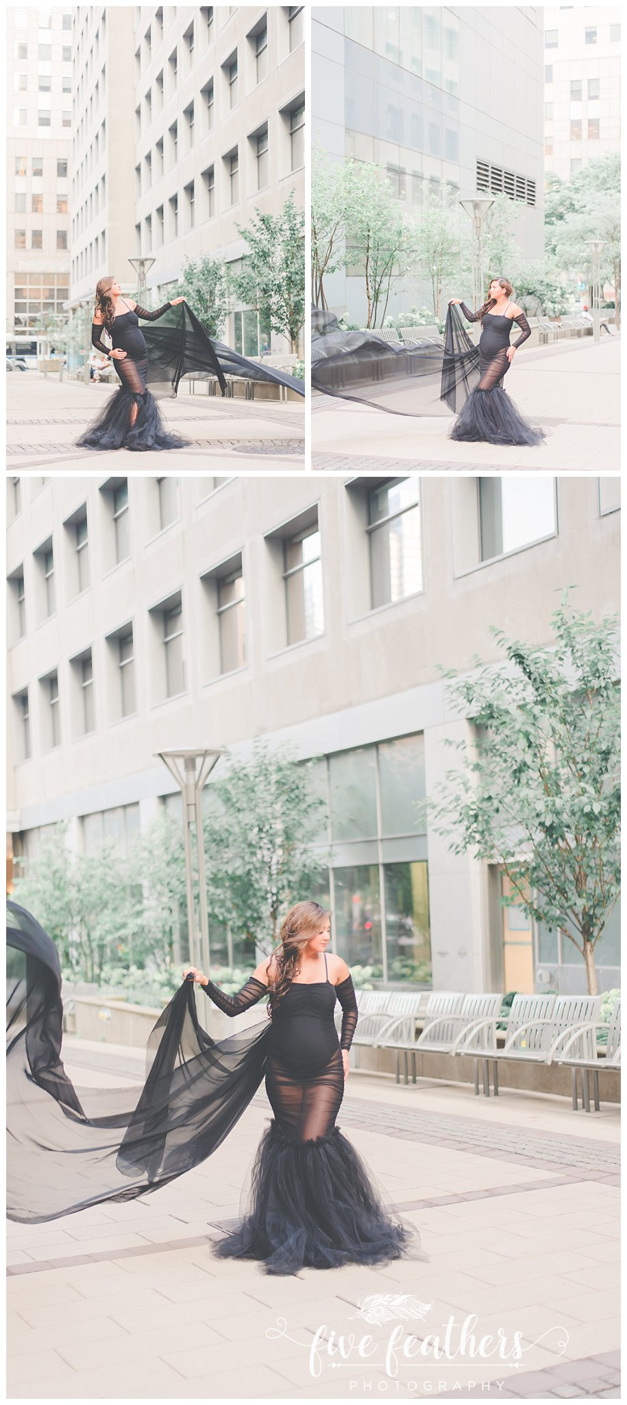 light and airy city maternity photo session