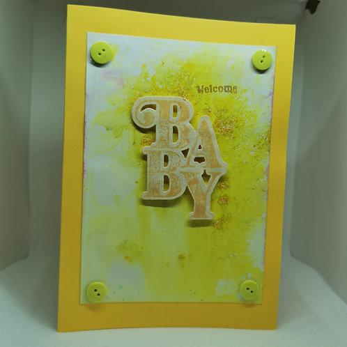 Welcome Baby yellow splatter