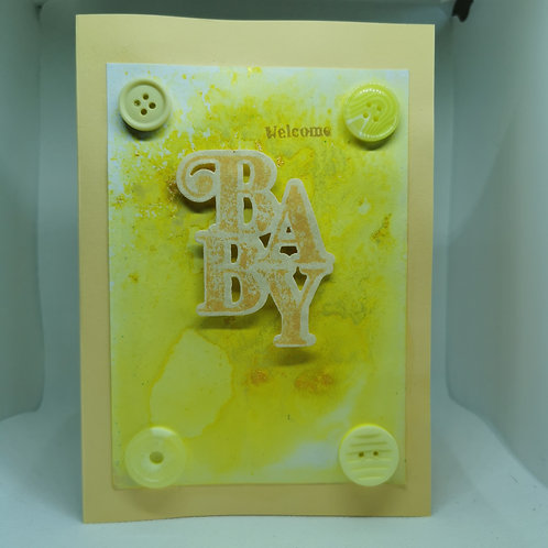 Welcome Baby yellow splatter Large  button