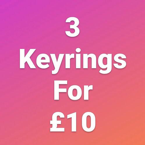 3 Keyrings For £10