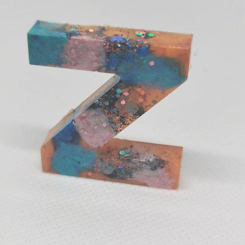 "Multi-Colour Glittery ""Z"" Keyring"