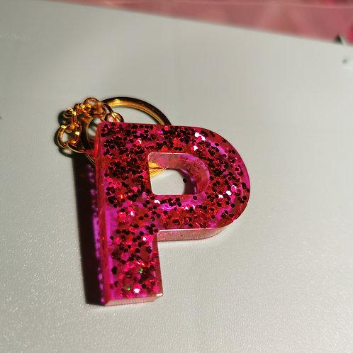 "Pink Glittery ""P"" Keyring"