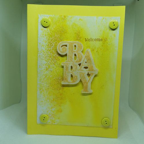 Welcome Baby yellow splatter small button