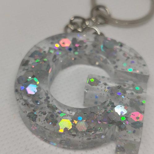 """Clear Glittery """"G"""" Keyring"""