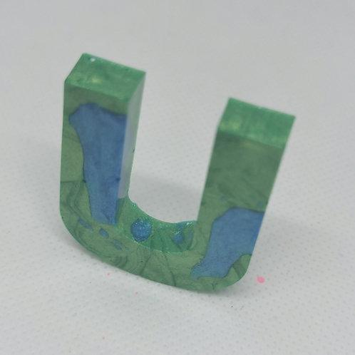"Green and Blue ""U"" Keyring"
