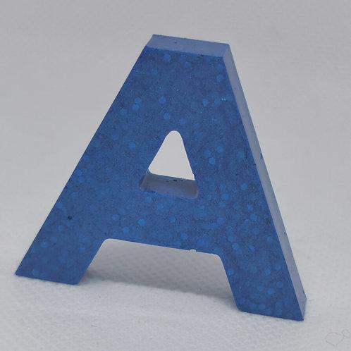 "Blue Glitter ""A"" Keyring"