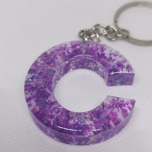 "Purple Glittery ""C"" Keyring"
