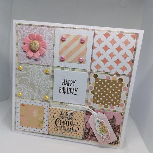 Happy Birthday mix Background Pink Flower