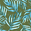 hand-painted tropical foliage pattern in olive green with blue palms