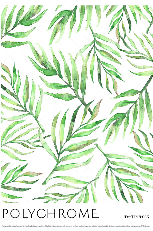 hand-painted tropical foliage pattern in white with green palms