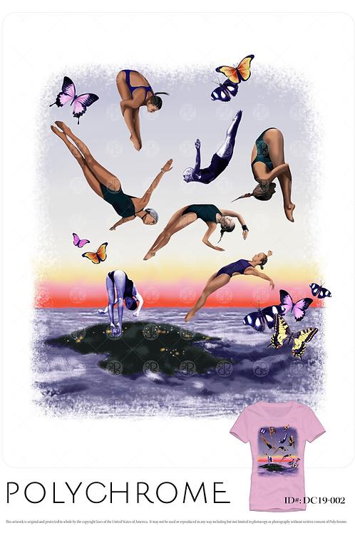 placement artwork with divers over a surrealist landscape