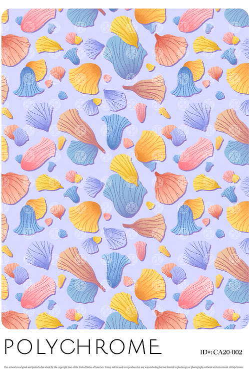 Petals - allover original print repeat pattern with tossed flower petals on a pale purple ground