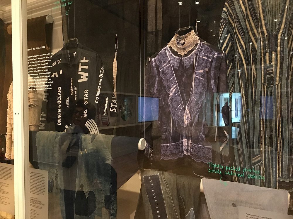 modern and antique examples of Indigo dye, Sashiko embroidery, and Boro at the RISD Museum